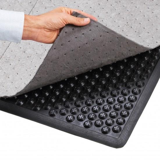 Maty redukujące zmęczenie przeznaczone do stosowania z wkładem sorpcyjnym. Krawędzie na czterech bokach tworzą obrzeże wokół maty aby móc stosować sorbent tekstylny. Szorstka powierzchnia zapobiega przesuwaniu się sorbentu. Wykonane z wysokiej jakości gumy nitrylowej odpornej na działanie oleju i zaprojektowane tak, aby zapewnić długi okres użytkowania. Mata nie przesuwa się. Nie używać sylikonu, może być użyta w lakierniach samochodowych